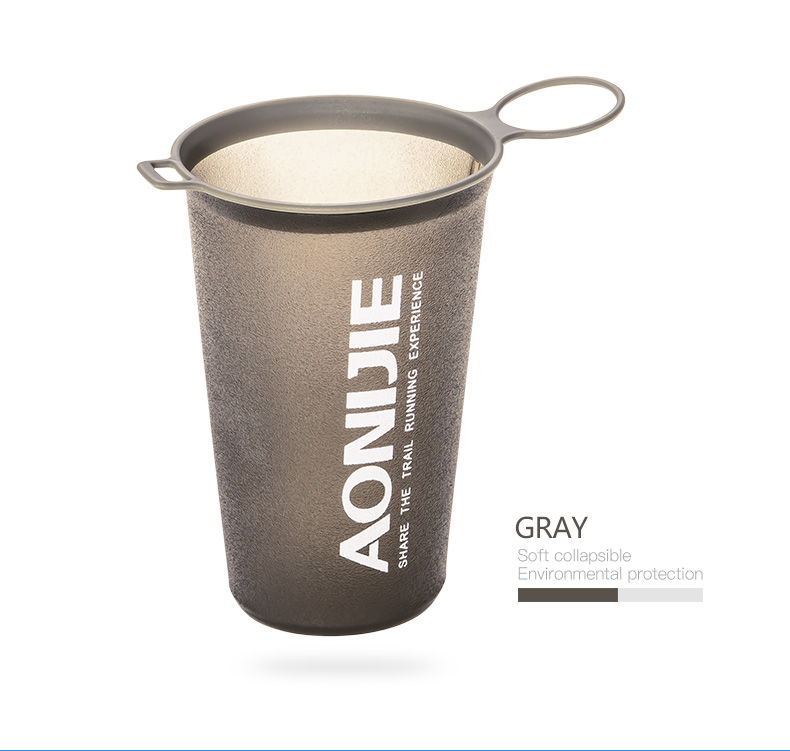 Foto of gray color water's flask folding TPU for sport. Collapsible flask of water 500ml for hiking