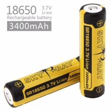 2pcs Skyray 3.7V 3400mAh High Capacity 18650 Li-ion Rechargeable Battery with Protected PCB for LED Flashlights Headlamps