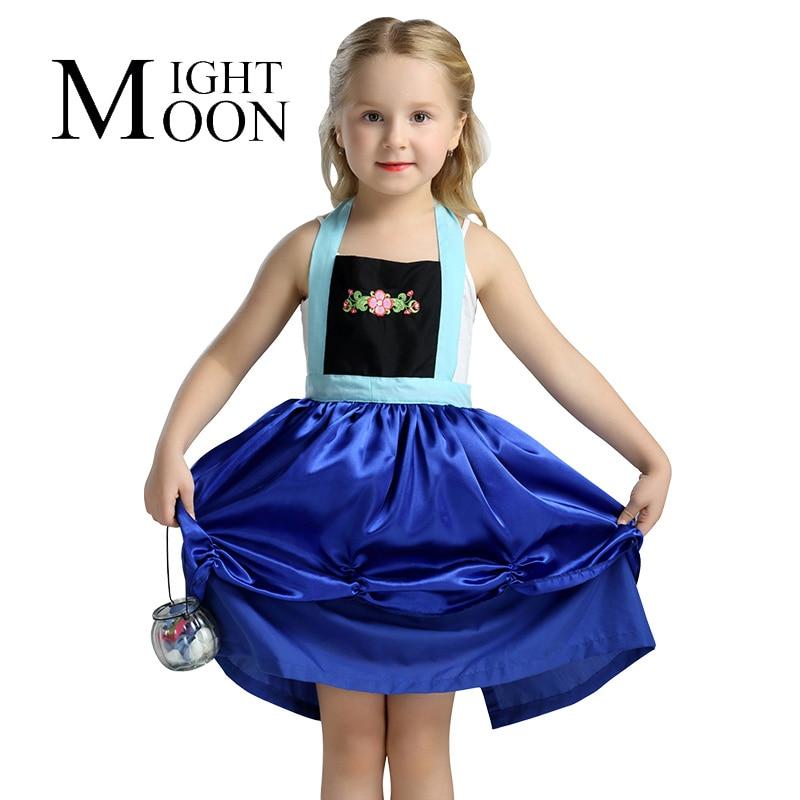 MOONIGHT Anna Dress Girls Costumes Princess Elsa Apron Dress Disfraz Princesa Vestido Ana Festa Infantil Meninas