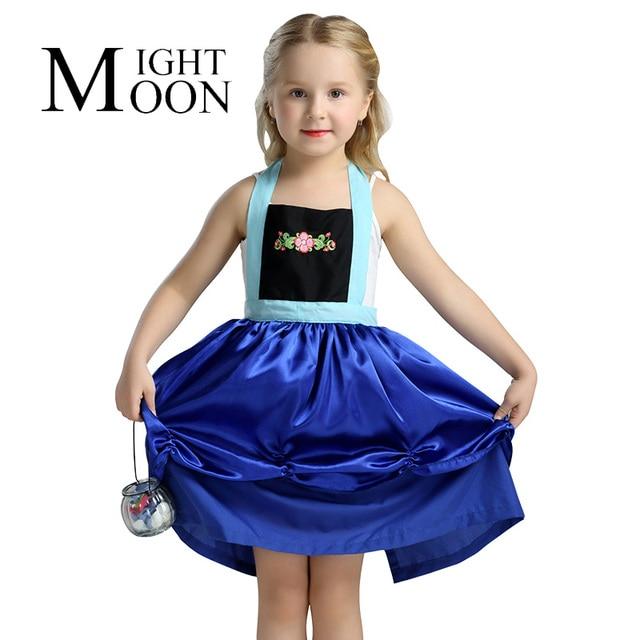 b2c3ae276 MOONIGHT Anna Dress Girls Costumes Princess Elsa Apron Dress Disfraz  Princesa Vestido Ana Festa Infantil Meninas