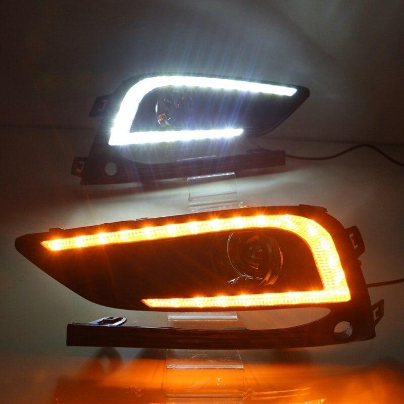 цена на White Yellow Turning Function ABS Cover 12V Car DRL LED Daytime Running Light Daylight Lamp For Chevrolet Cruze 2016 2017 DRL