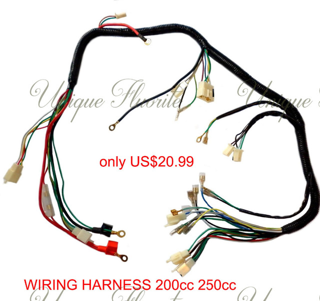 quad wiring harness 200 250cc chinese electric start loncin zongshen harley wiring harness diagram quad wiring harness 200 250cc chinese electric start loncin zongshen ducar lifan free shipping