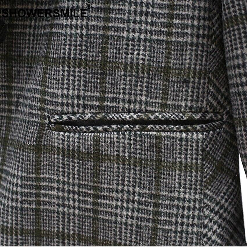 SHOWERSMILE Plaid Womens Tweed Jacket Gray Ladies Coat Office Lady Slim Fit Suit One Button Female Blazer Winter Coat Women