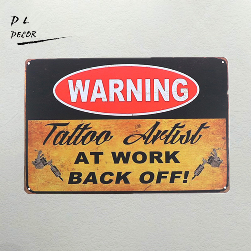 DL-warning tattoo Sign garage atau man cave sign