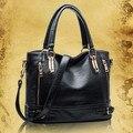Hot 2016 marca designer de moda preto genuína mulheres de couro bolsas de Couro das mulheres do vintage mensageiro sacos bolsas femininas Z3018