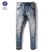 İtalyan Tarzı Cep Tasarım Moda Erkek Jeans Vintage Retro Yıkama Denim Ripped Kot Erkekler Marka Giyim DSEL Bisikletçinin Kot Pantolon