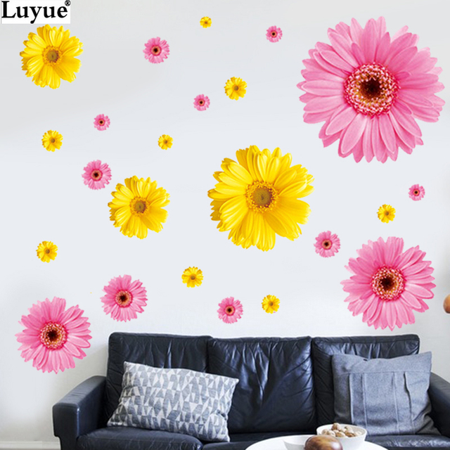 home decor home bedroom wall decal yellow flowers chrysanthemum