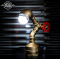 Industrail Ferro Tubulação de Água Sótão do vintage Lâmpada de Mesa Personalidade Criativa Lâmpada de Mesa Para Sala de Home Bar Luz Luminaria De Mesa