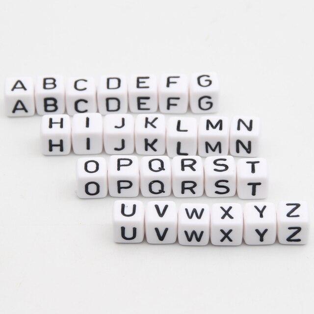 """Acrylic Letter Hạt 550 Cái """"AZ"""" Alphabet Thư Cubic Hạt Trắng 10x10 mét Bé Teether Vòng Cổ & Pacifier Clip Spacer"""