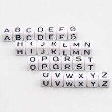 Perles en lettres acryliques 550 pièces, lettres dalphabet, cubiques blanches, 10x10mm, collier de dentition pour bébé, attache sucette