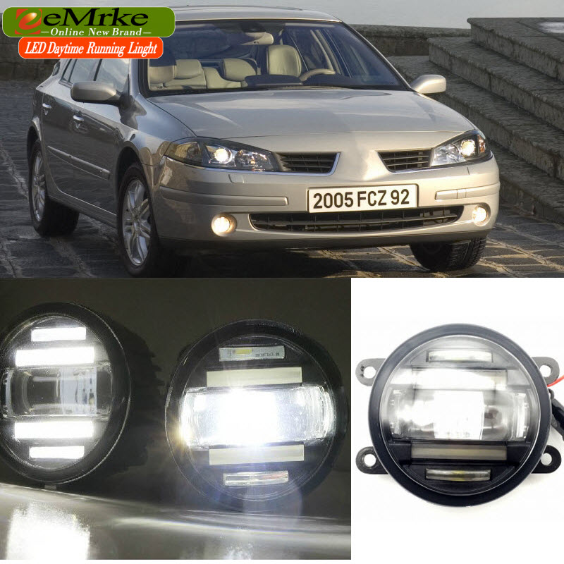 eeMrke Car Styling for Renault Laguna II BG01_ 2003-2007 2 in 1 LED Fog Light Lamp DRL With Lens Daytime Running Lights eemrke car styling for opel zafira opc 2005 2011 2 in 1 led fog light lamp drl with lens daytime running lights