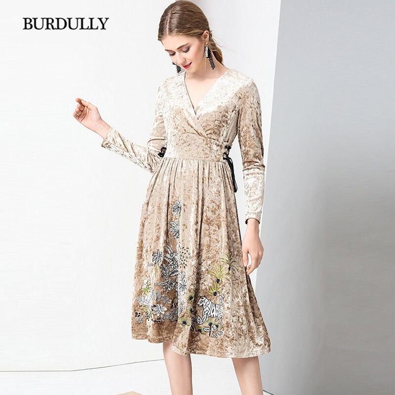 f50ea6eb943 BURDULLY Роскошные 2019 Осенняя женская обувь Вельветовое платье с вышивкой  высокое качество в винтажном стиле