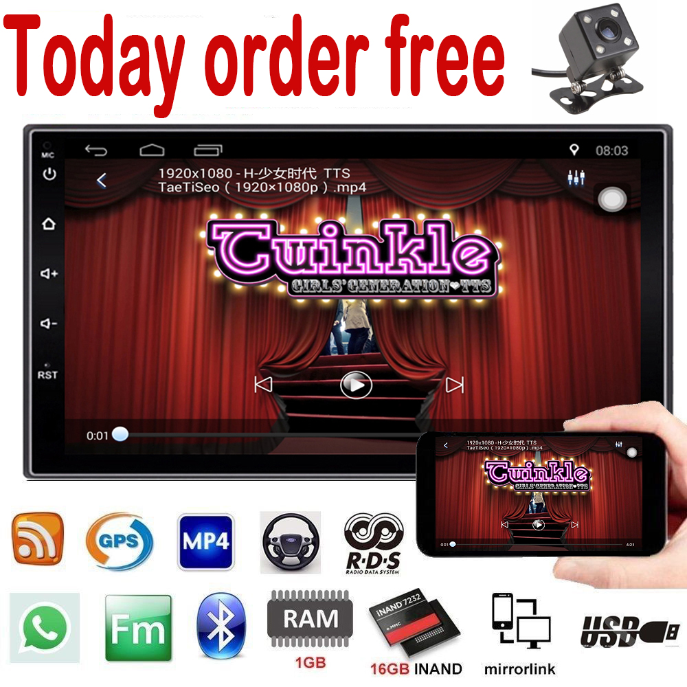 NEW 2 din android 7.1 car radio auto bluetooth double din multimedia system universal GPS Navigation 1024*600 support dab