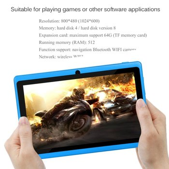 WI-FI 7 дюймов TFT Экран Детские Обучающая машина Tablet ARM Cortex A7 512 М + 8 Гб Android 4.4.2 двойной Камера ребенка компьютер ноутбук для детей