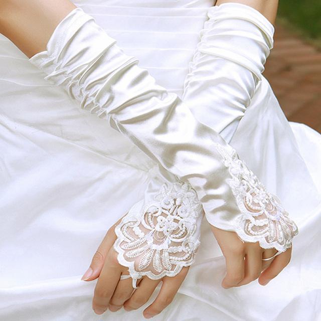 Branco Acessórios de casamento da noiva formal de qualidade luvas de renda luvas sem dedos frisado