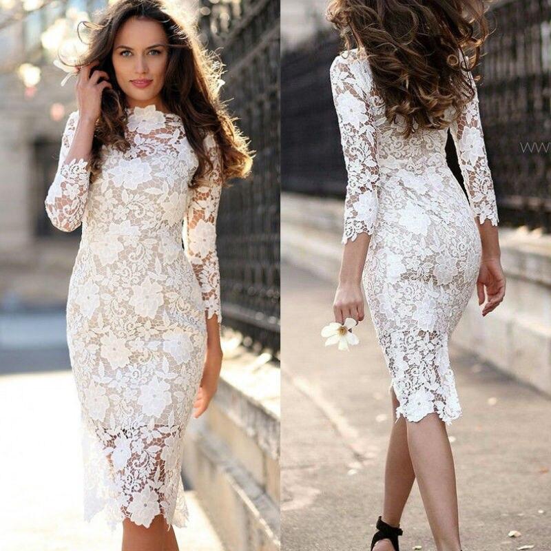 White Round Neck Lace Sheer Zipper Slim Bodycon Dress Summer Elegant Women Pencil Dresses