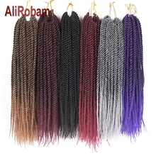 AliRobam Senegalese Twist Crochet Hair Ombre Brown Braids Low Temperature Fiber Synthetic Braiding Extensions 22Roots/pack