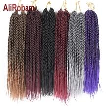 AliRobam senegalski twist Crochet włosy Ombre Brown Grey warkocze Kanekalon Fiber syntetyczne oplot przedłużanie włosów 22Roots opakowanie tanie tanio W mieście kanekalon 22nitki opakowanie AliRobam na