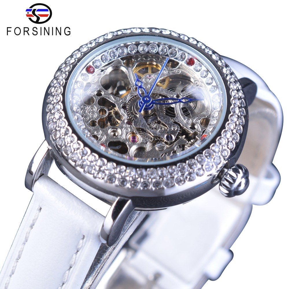Forsining Women's Bracelet Fashion Geneva Diamond Luxury Design Blue Hands Skeleton Dial White Leather Automatic Skeleton Watch