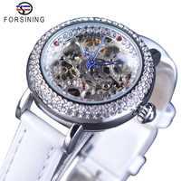 Forsining女性のブレスレットファッションジュネーブダイヤモンド高級デザイン青手スケルトンダイヤルホワイトレザー自動スケルトン腕時計
