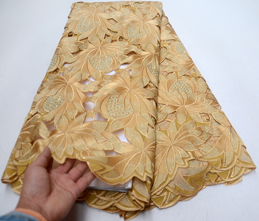 2019 Llatest Gold Cut hole African cotton Lace Fabric high quality Swiss Voile Lace In Switzerland With Stones for party dress2019 Llatest Gold Cut hole African cotton Lace Fabric high quality Swiss Voile Lace In Switzerland With Stones for party dress