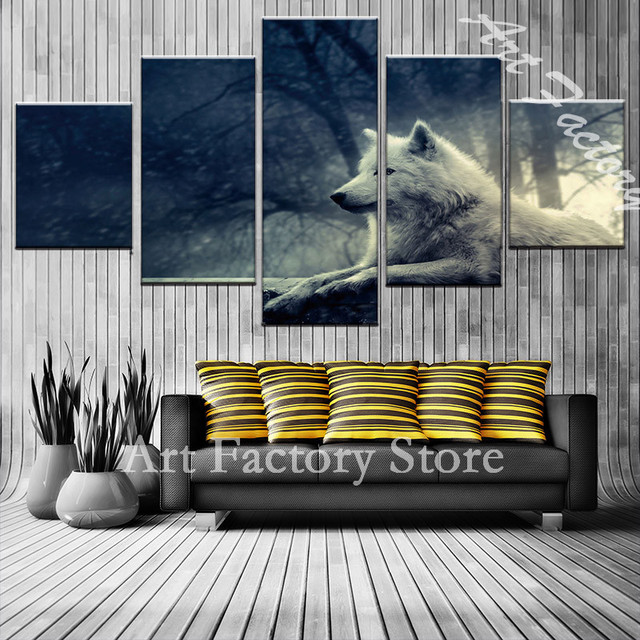 painting living room off white paint colours for small rooms 5pcs canvas wall pictures home decor wolf forest posters and prints 710 2