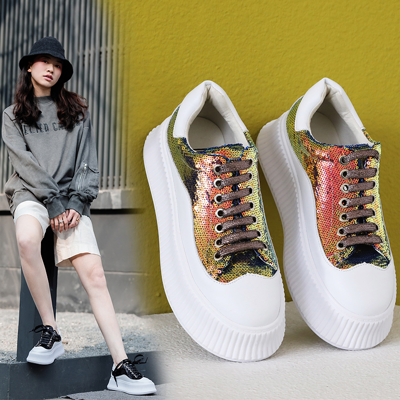 INS hot Genuine Leather shoes Inside and outside whole skin super fire wild magic smoked sports shoes Women's Vulcanize Shoes