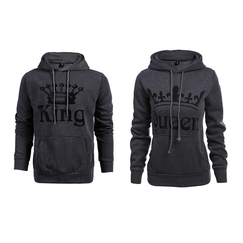 Valentines Day KING Queen Hooded Pullovers Hoodie Couple Long Sleeve Winter Women Men Slim Sweatshirt for Couple Lovers ...