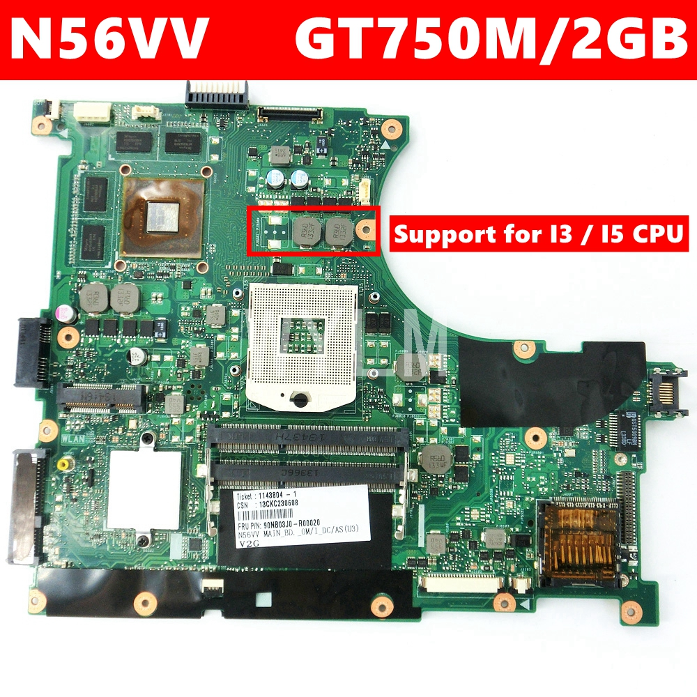 N56VV GT750/2GB Mainboard REV 2.0 For ASUS N56V N56VV N56VM N56VJ N56VZ N56VB Laptop Motherboard PGA989 100%Tested Free Shipping