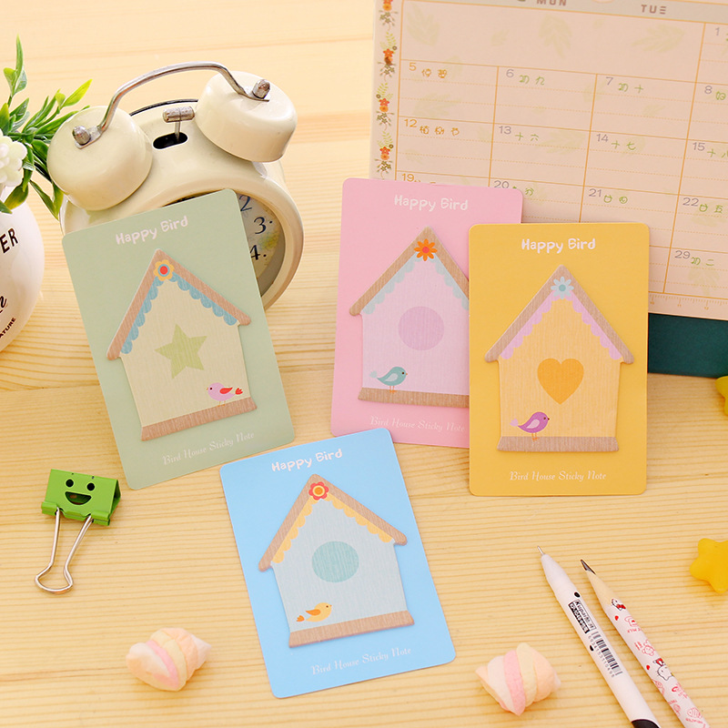 4Pack/Lot Wholesale Cute Lovely House Candy Color Notes Post it N Times Sticky Memo Pad Stationery Office Supplies E0053