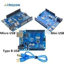 Placa de desarrollo UNO R3, ATMEGA328P 16AU, CH340, CH340G, Micro/Mini/tipo B, USB con Cable USB para Arduino UNO R3