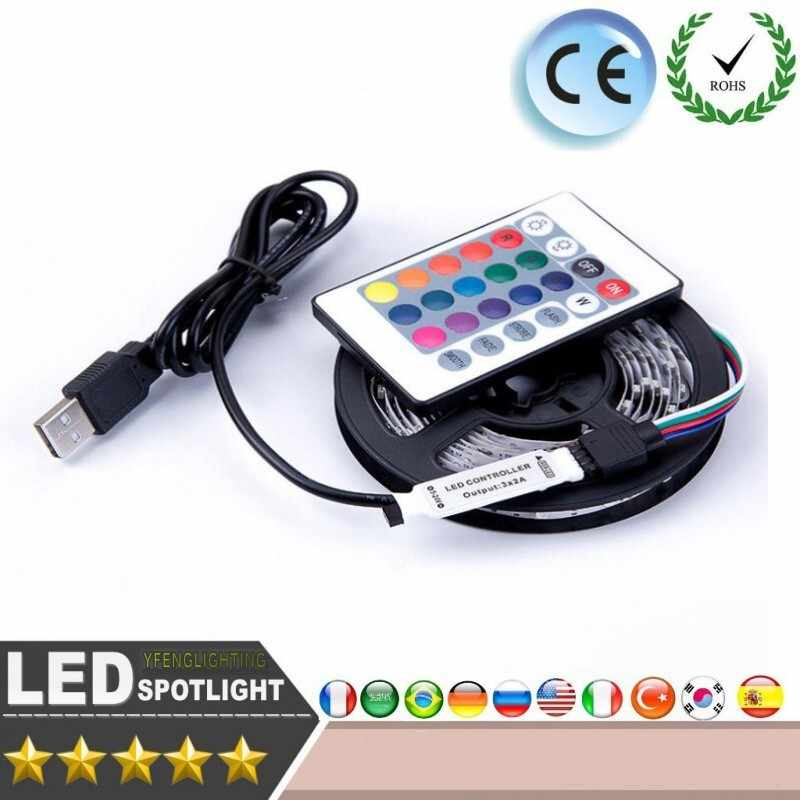 Dc 5V Led Strip 3Key 24key Usb-kabel Power Flexibele Licht Lamp 50 Cm 1M 2M 3M 4M 5M Smd 2835 Desk Screen Tape Tv Achtergrond Licht