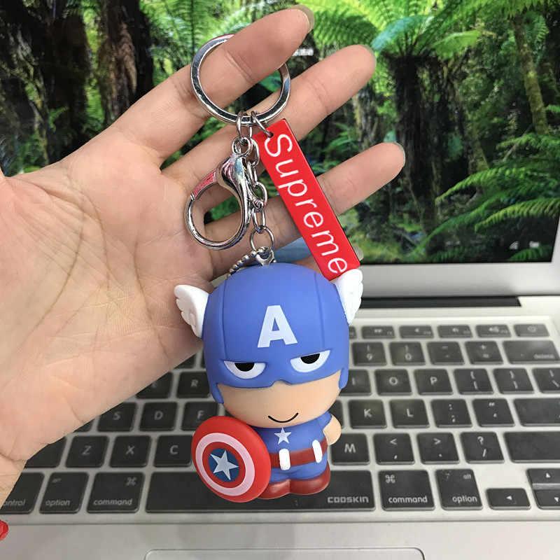 Dễ thương Marvel Avengers 4 Móc Chìa Khóa Siêu Anh Hùng Người Sắt Đội Trưởng Mỹ Người Nhện Đồ Chơi Búp Bê Móc Khóa cho Túi Nữ Quyến Rũ accesso