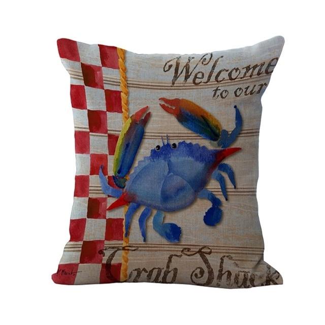 Mediterranean Beach Resort Lobster Crab Series Home Decorative Throw Pillow  Almofadas Decorate Pillow Chair Cushion Cover