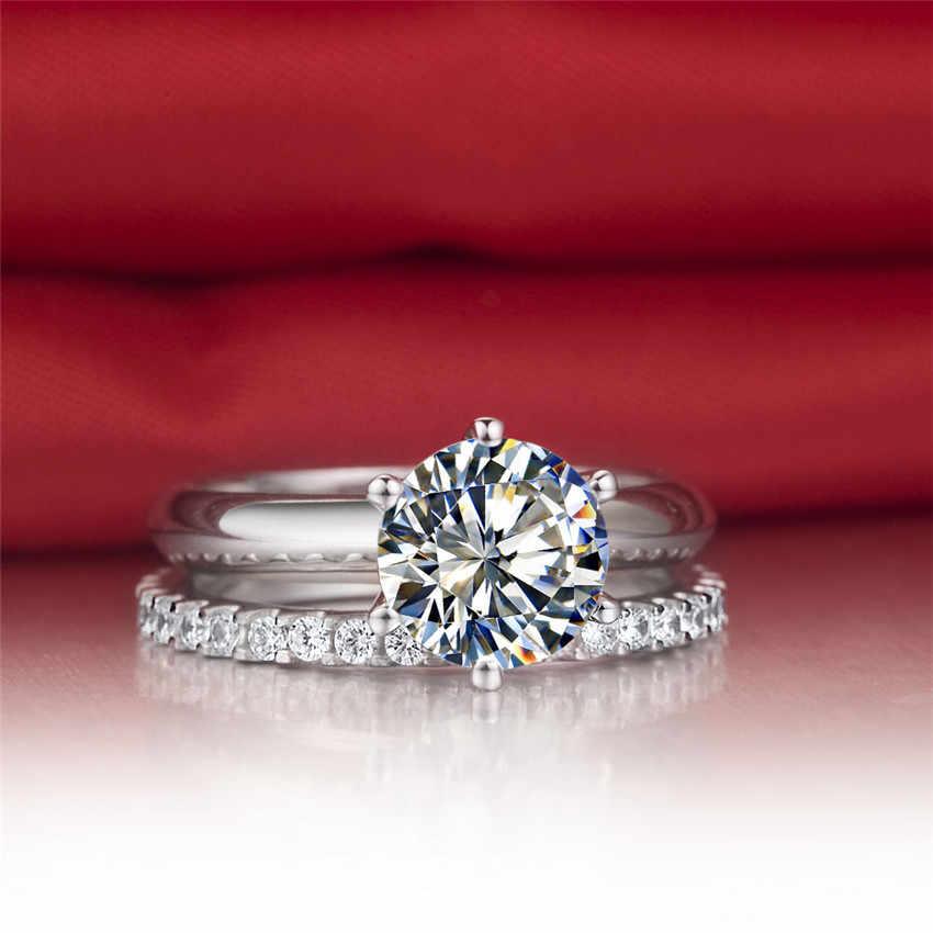 Silver & Moissanite ชุดอัญมณี 1.5Ct 7.5 มิลลิเมตร G-H Moissanite ชุดแหวนเงิน 925 แหวนสตรีเพชรสังเคราะห์แหวน