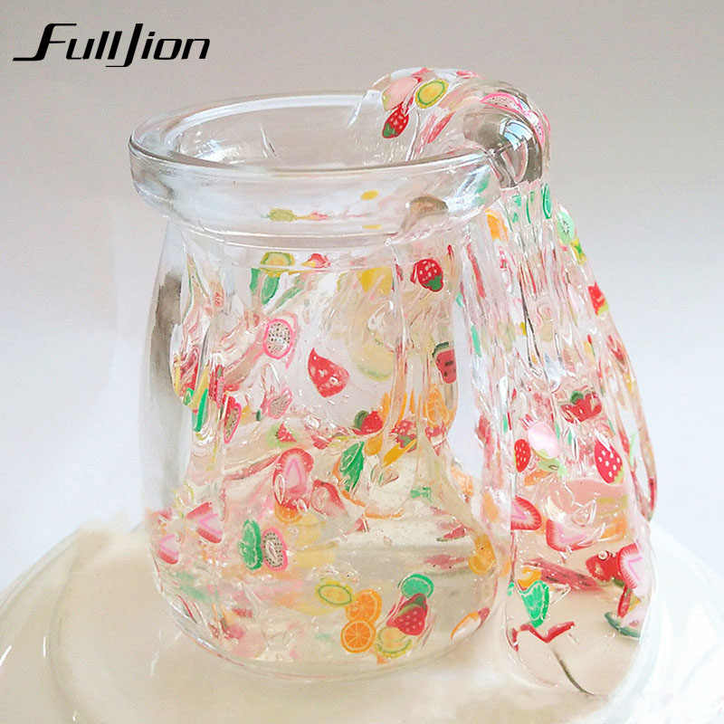 Fulljion Clear Slime Toys Modeling Clay Fluffy Box Putty Lizun Plasticine Toys Stress Relief  Play Soft Light Clay Slime Butter