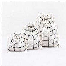 Холщовый мешок на завязках из хлопка и льна, дорожная сумочка для косметики, женская и мужская обувь, сумка для хранения