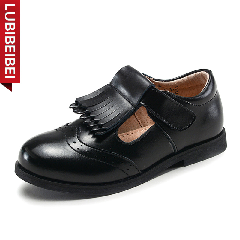 LUBIBEIBEI Children Princess Leather Shoes Fashion Casual Shoes Baby Girls School Shoes Black White Performance Shoes Kids KS111