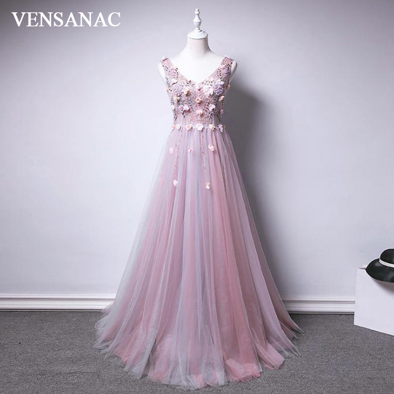 VENSANAC Lace Flowers Appliques V Neck 2018 A Line Long   Evening     Dresses   Party Crystal Beading Backless Prom Gowns