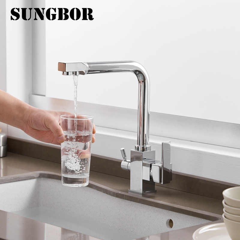 Square Filter Faucets Kitchen 3 Way Water Tap Dual Lever Kitchen Taps Chrome Deck Mounted Water Purifier Faucet CF-9050L