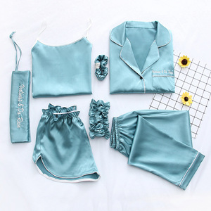 Image 2 - Women Pajamas 7 Piece Set Ice Silk Prints Long Sleeve Top Elastic Waist Pants ladies Full Lounge Women Sleepwear Set Home Suits