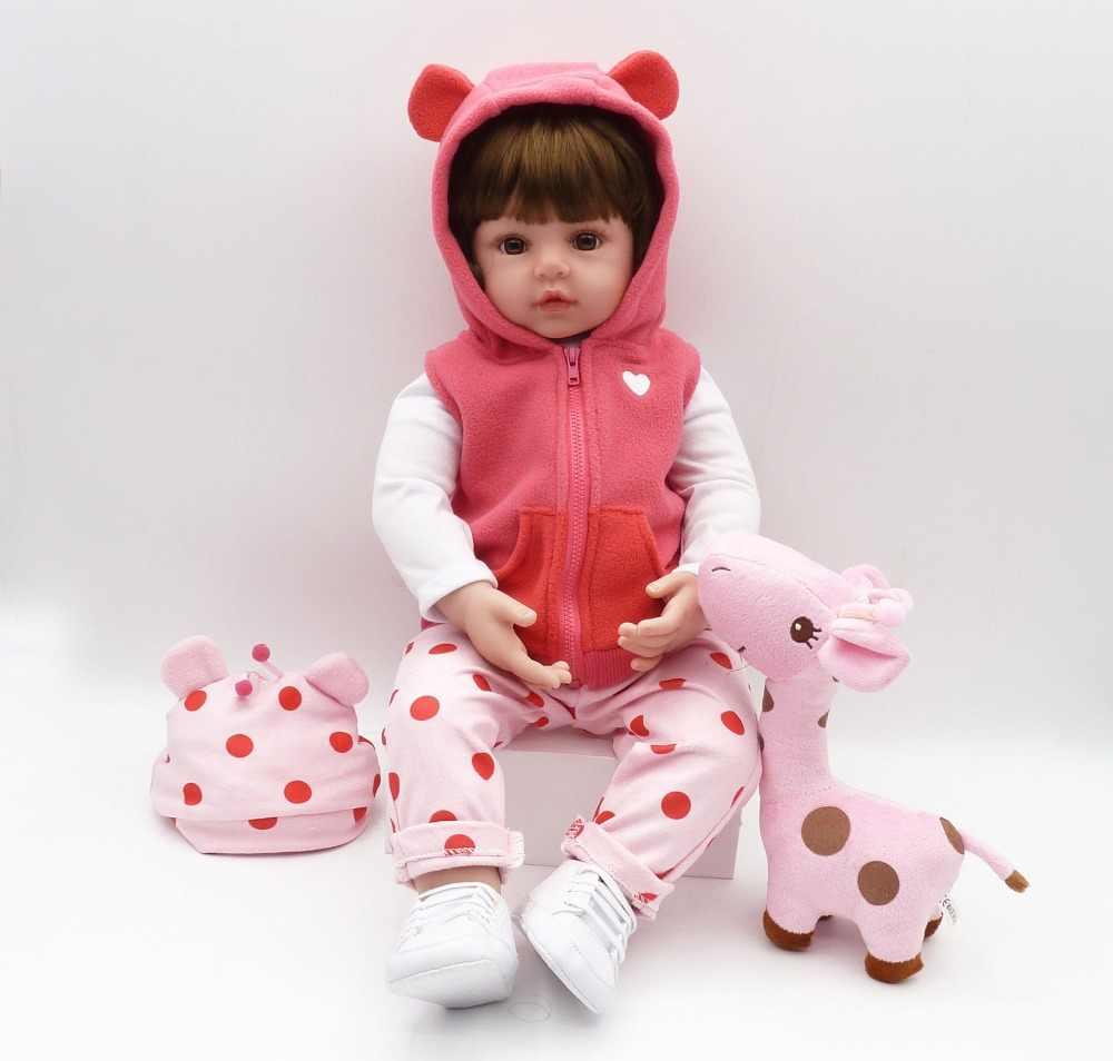 Bebes reborn boneca 47cm silicone macio reborn da criança do bebê bonecas com corpo de silicone menina natal surprice presentes lol boneca