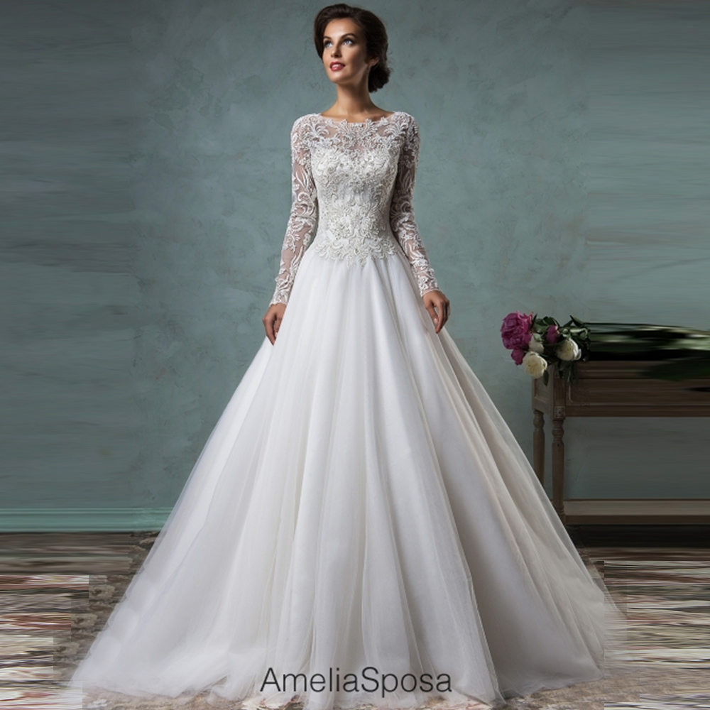 Long Sleeve Wedding Dresses Size 14 : Amelia sposa lace plus size wedding dress with long sleeves a