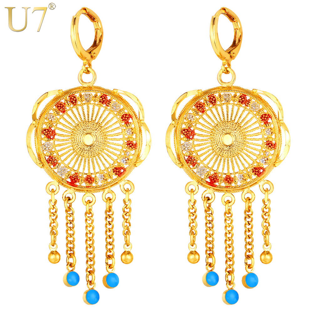 U7 Tassels Long Earrings For Women Jewelry Wholesale Gold Color Trendy Drop Earings Fashion Jewelry Indian Style E726