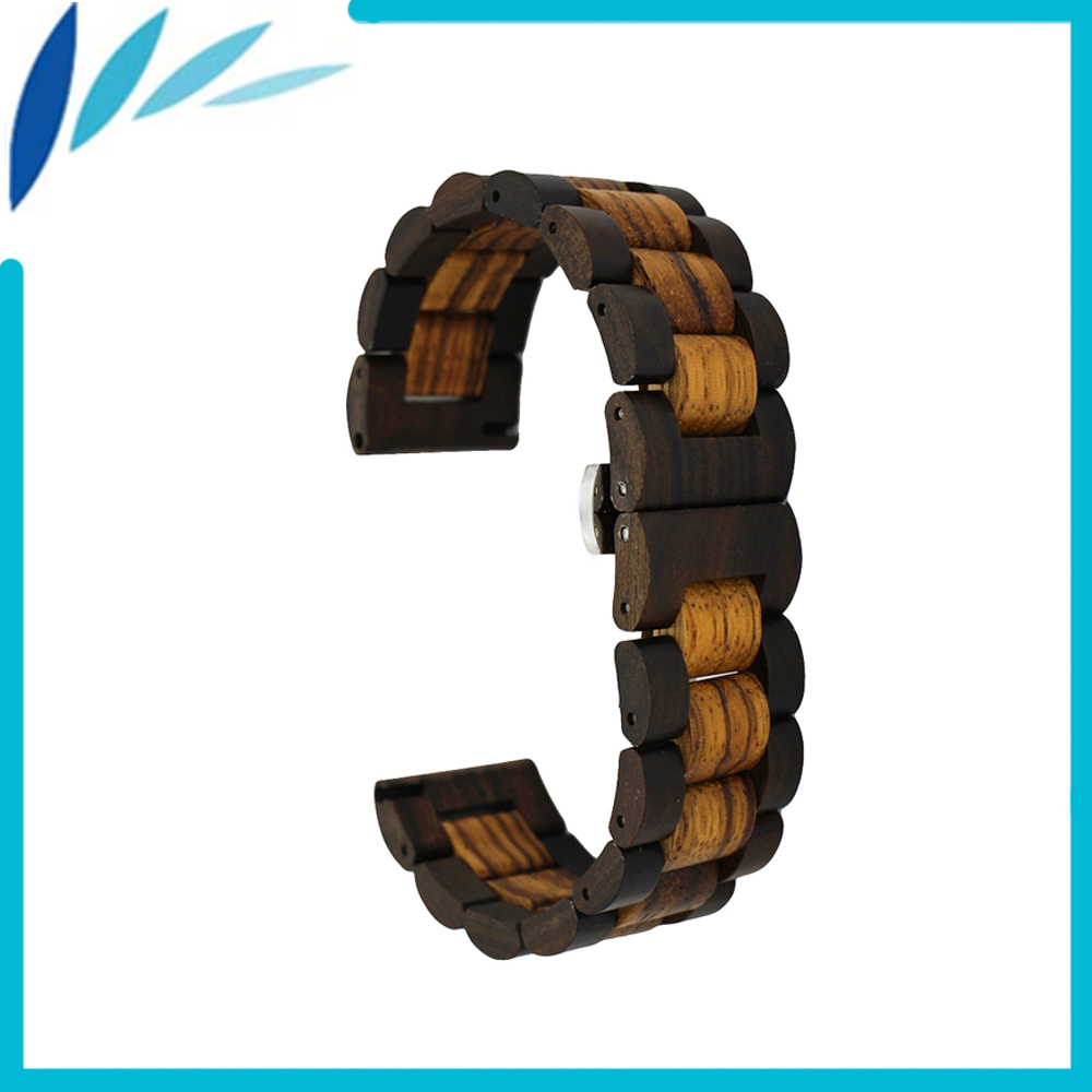 Wooden Watch Band 22mm for Panerai Luminor Radiomir Stainless Steel Butterfly Buckle Strap Wrist Loop Belt Bracelet + Spring Bar