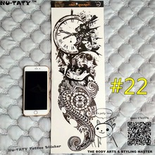 "Nu-TATY ""The Time Keeper"" Full Sleeve Temporary Body Art, 48x17cm Flash Tattoo Stickers, Waterproof Tatto Adult Sex Products"