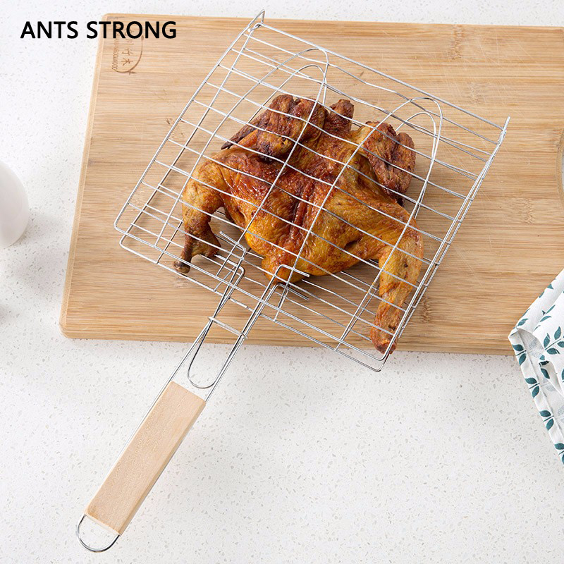 ANTS STRONG grilled fish barbecue clip net/stainless steel non-stick meshes wood handle burgers barbecue clamp BBQ tools
