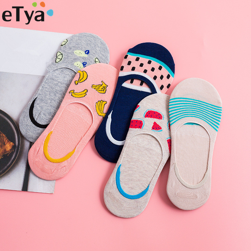 ETya 1Pair Colorful Fruit Woman Sock Non-slip Cotton Summer Comfortable Girl Low Ankle Boat Sock