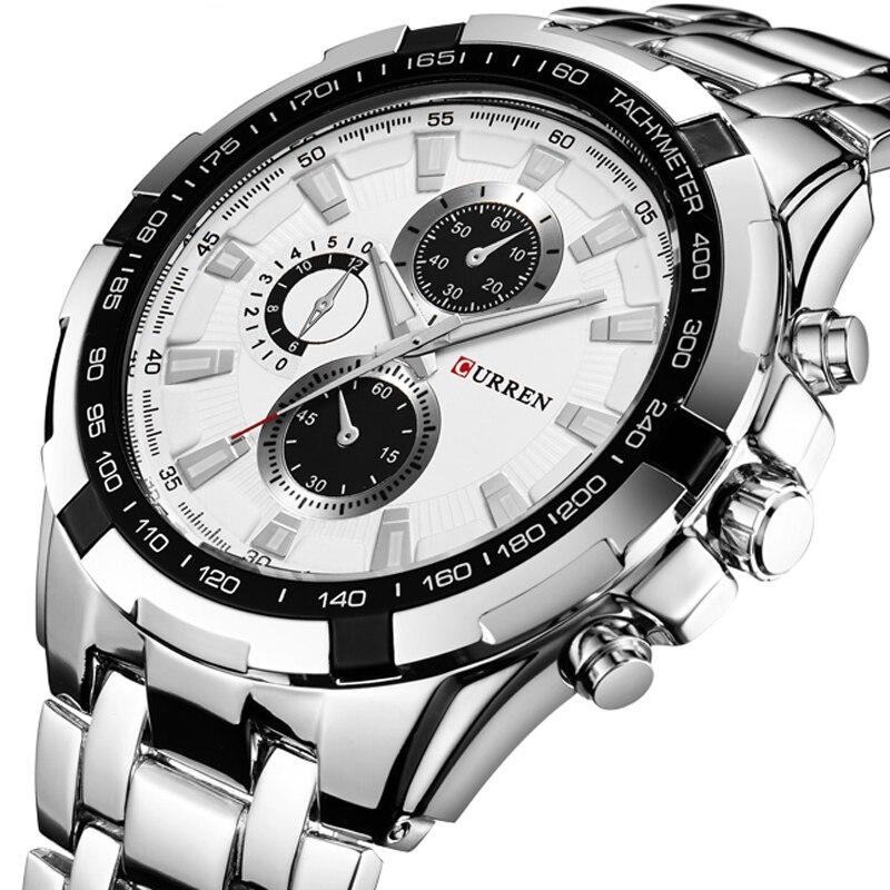 Prix pour Curren quartz hommes montres top marque de luxe hommes militaire montres complet acier hommes sport montre étanche relogio masculino