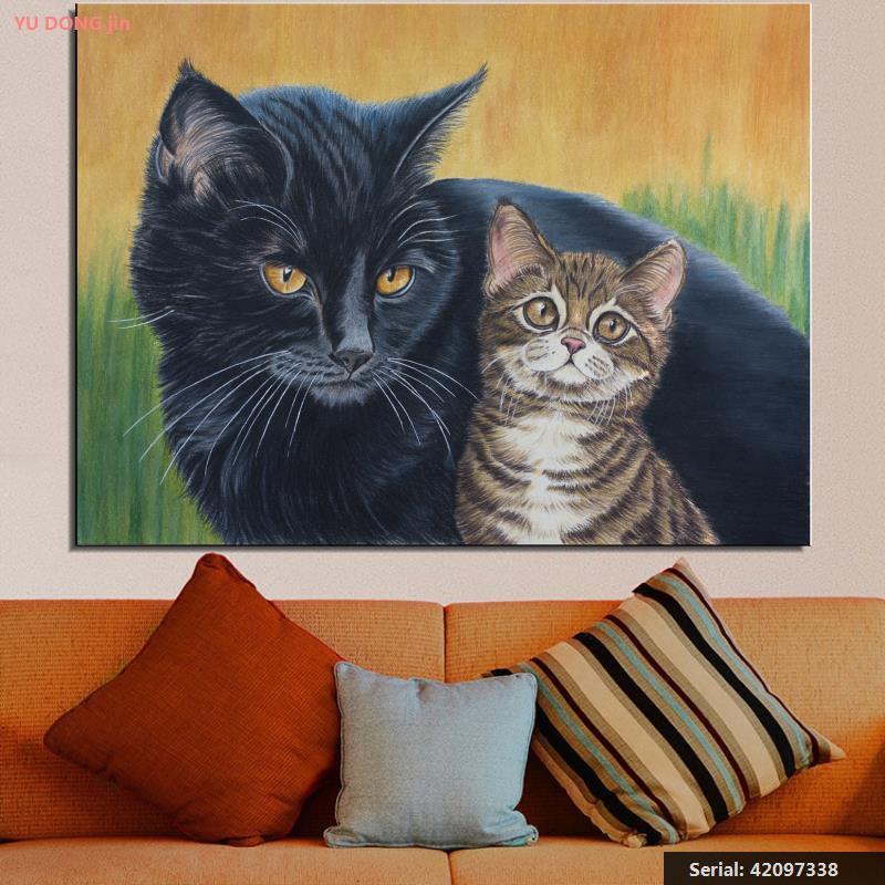 2 Katten Dier Abstracte Olieverf Tekening Art Spuiten Unframed Canvas Waterdichte Actie Realistische Hand Stro Design42097338 Een Lang Historisch Aanzien Hebben